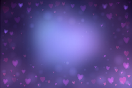 heartshaped: Abstract smooth blur dark blue background with small heart-shaped lights over it. Illustration
