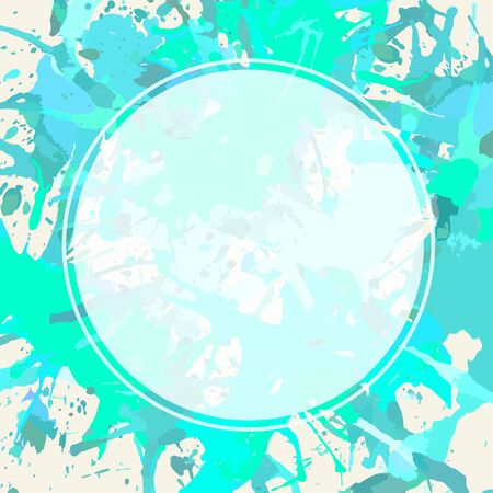 semitransparent: Template with semi-transparent white circle over pastel colored blue and green artistic paint splashes, ready for your text. Illustration