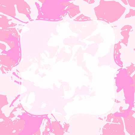 semitransparent: Template with semi-transparent white vintage frame over pastel pink artistic paint splashes, ready for your text. Illustration