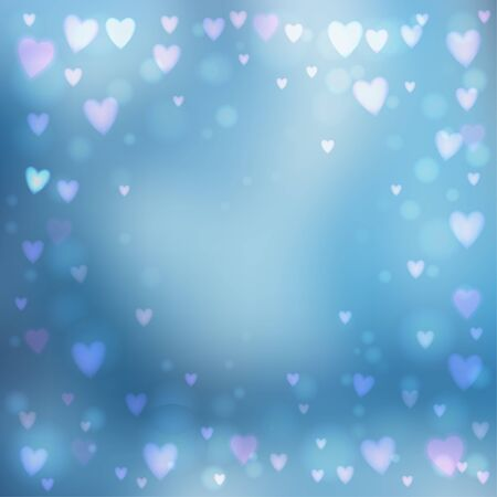 day dreaming: Abstract square blur blue background with small heart-shaped lights over it.