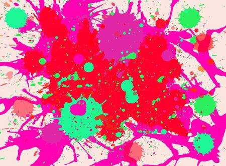 horizontal format: Vibrant bright pink, red and green paint artistic multicolor splashes background, horizontal format. Illustration