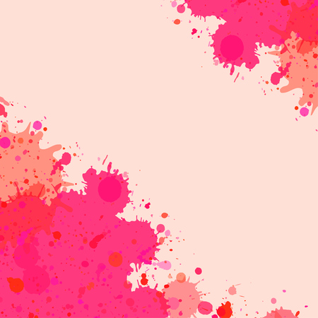 room for text: Vibrant bright pink watercolor artistic splashes frame with room for text, square format.