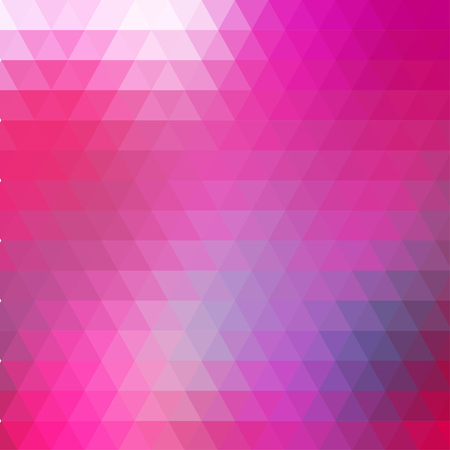 rows: Abstract pink geometric background formed with triangles in rows, square format.