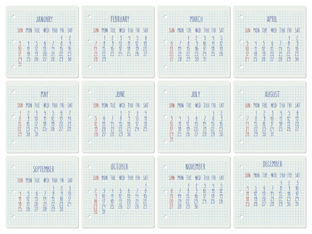 Year 2016 vector monthly calendar on a squared notebook page. Week starting from Sunday. Hand written typography.