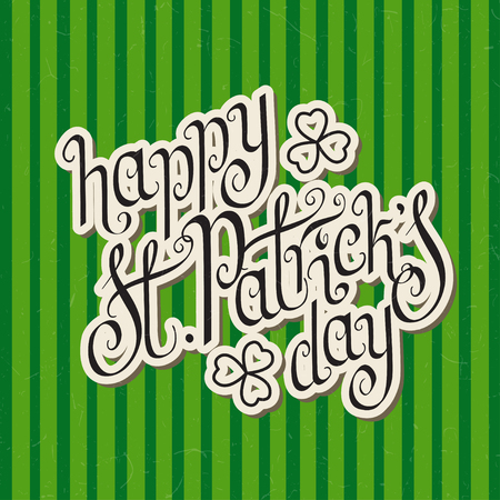 Paper cut hand written St. Patricks day greetings over green stripes textured background. Illustration