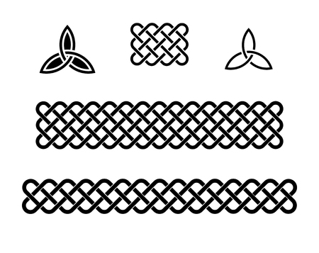 Traditional celtic style braided knot elements, black isolated on white.