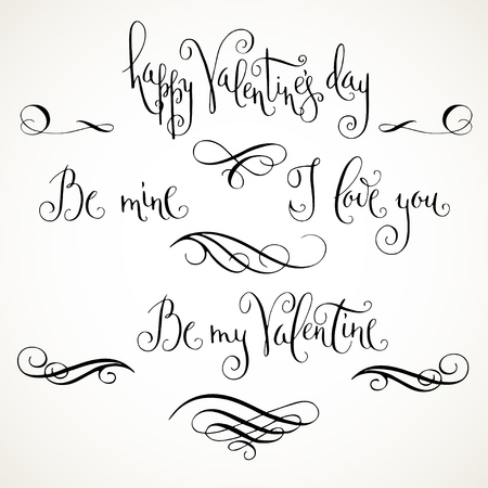 phrases: Hand written modern calligraphic Valentines day greetings. Valentine phrases with flourishes in black isolated over white.