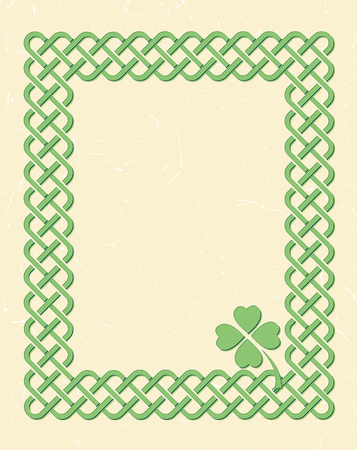 Traditional green celtic style braided knot frame with shamrock leaf over textured vintage background.