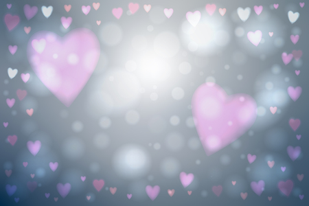 photography background: Abstract smooth blur gray background with pink heart-shaped lights over it.