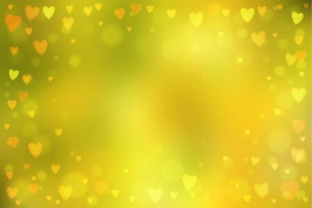 heartshaped: Abstract smooth blur yellow background with small heart-shaped lights over it. Illustration