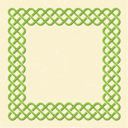 braided: Traditional green celtic style braided knot frame over textured vintage background.