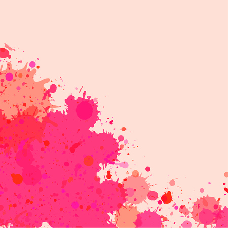 text room: Vibrant bright pink watercolor artistic splashes frame with room for text, square format.