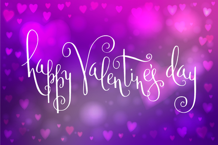 heartshaped: Abstract smooth blur purple background with heart-shaped lights over it and hand written Valentines day greetings.