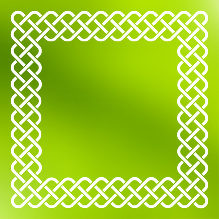 keltic: Traditional style braided knot celtic frame over square abstract smooth blur green background. Illustration