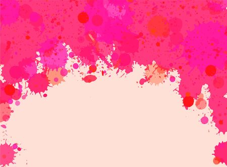 horizontal format: Vibrant bright pink watercolor artistic splashes frame with room for text, horizontal format.