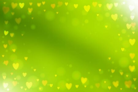 heartshaped: Abstract smooth blur green background with small heart-shaped lights over it. Illustration