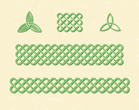 woven: Traditional green celtic style braided knot borders and elements over textured vintage background.