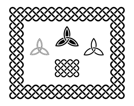 triquetra: Traditional celtic style braided knot frame and elements, black isolated on white. Illustration
