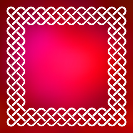 Traditional style braided knot celtic frame over square abstract smooth blur red background.