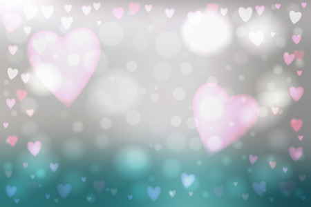 heartshaped: Abstract smooth blur blue background with heart-shaped lights over it.
