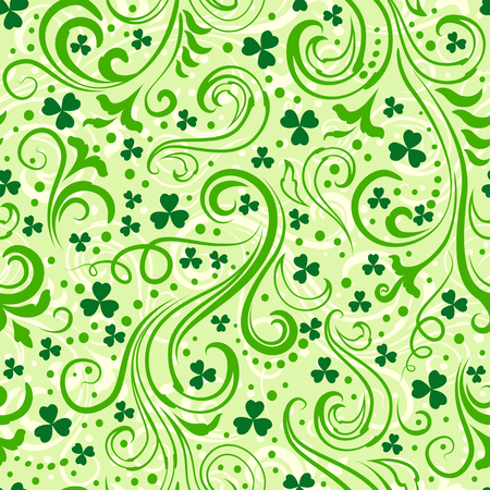 seamless clover: Seamless light green St. Patricks day background with floral swirls and clover leaves.