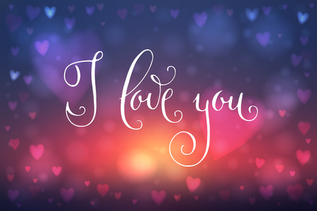 heartshaped: Abstract blur blue and pink background with heart-shaped lights over it and hand written I love you words.
