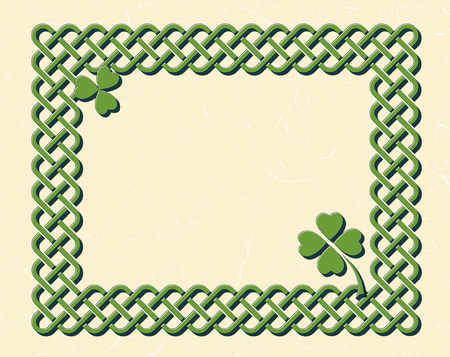 braided: Traditional green celtic style braided knot frame and shamrock leaves over textured vintage background. Illustration