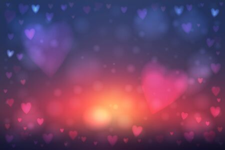 heartshaped: Abstract smooth blur blue and red background with heart-shaped lights over it. Illustration
