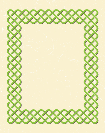 Traditional green celtic style braided knot frame over textured vintage background.