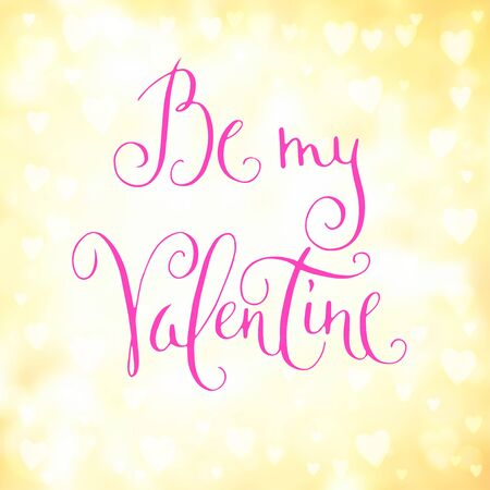 heartshaped: Square abstract blur yellow background with heart-shaped lights over it and pink hand written Valentines day greetings. Illustration