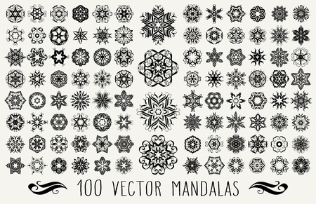 Set of ornate floral backgrounds in black and white backgrounds. Mandalas formed with hand drawn calligraphic elements.  イラスト・ベクター素材