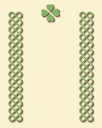 braided: Traditional green celtic style braided knot borders with shamrock leaf over textured vintage background, room for text.