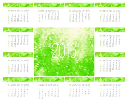 Year 2016 vector monthly calendar. Week starting from Sunday. Contemporary low poly design in bright green color.