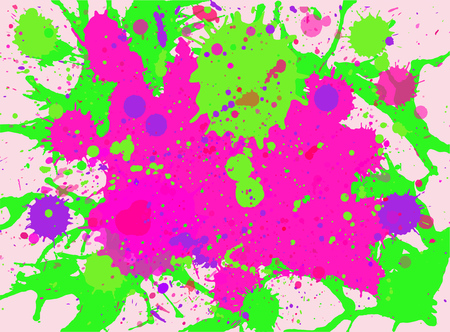 Vibrant bright pink and neon green watercolor paint artistic multicolor splashes background, horizontal format.