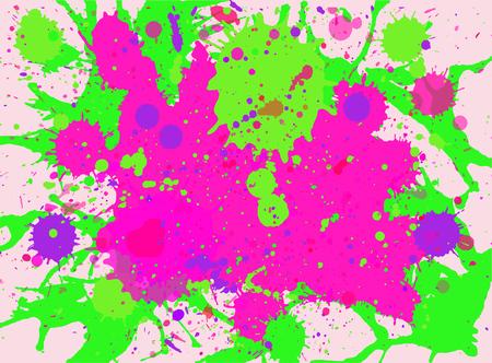 Vibrante de color rosa brillante y el neón pintura de acuarela multicolor artística verde salpica el fondo, formato horizontal.