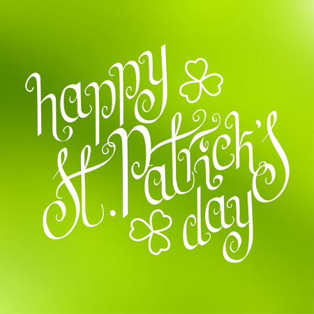 keltic: Hand written St. Patricks day greetings over square abstract smooth blur green background.