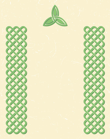 braided: Traditional green celtic style braided knot borders and a triquetra over textured vintage background, room for your text.