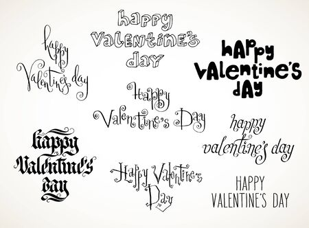 hand written: Set of hand written Valentines day greetings. Happy Valentines day in misc styles in black over white background. Illustration
