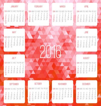 Year 2016 vector monthly calendar. Week starting from Sunday. Contemporary low poly design in red color. Illustration