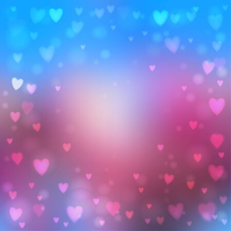 heartshaped: Abstract square blur blue and pink background with small heart-shaped lights over it.