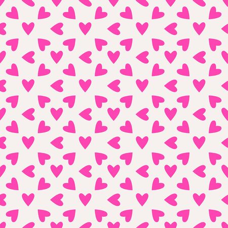 white tile: Seamless hearts pattern in pink over white. Valentines day tile background. Romantic vector pattern. Illustration