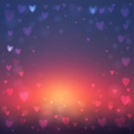 heartshaped: Abstract square blur blue and orange background with small heart-shaped lights over it. Illustration