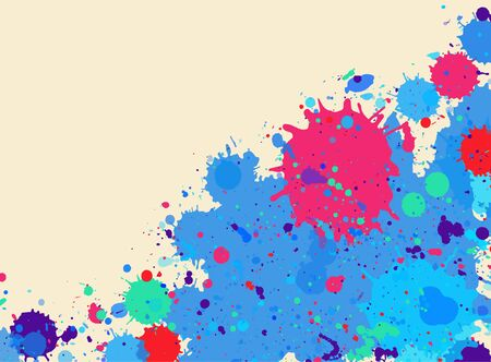 horizontal format: Bright blue and pink watercolor artistic splashes frame with room for text, horizontal format.