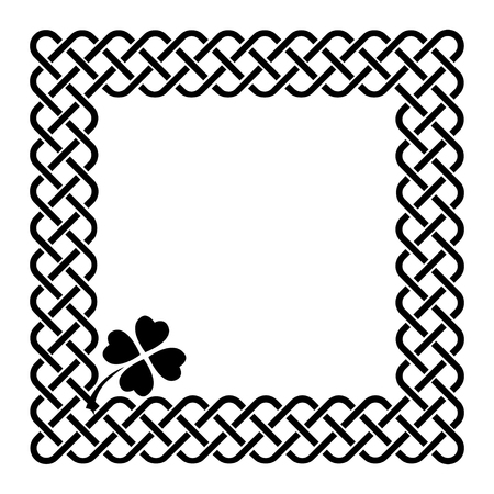 Traditional celtic style braided knot frame with a shamrock leaf, black isolated on white.