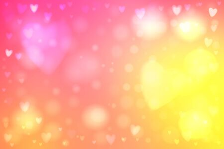 heartshaped: Abstract smooth blur yellow and pink background with heart-shaped lights over it.