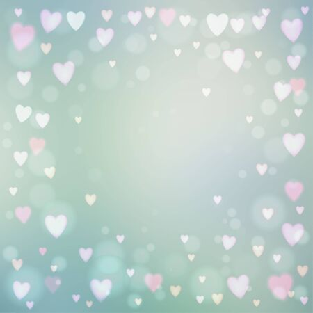 heartshaped: Abstract square blur gray background with small heart-shaped lights over it. Illustration