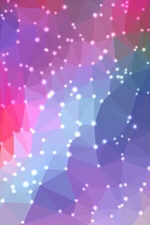 vertical format: Abstract geometric pink and blue background consisting of colored triangles with lights in corners. Vertical format.