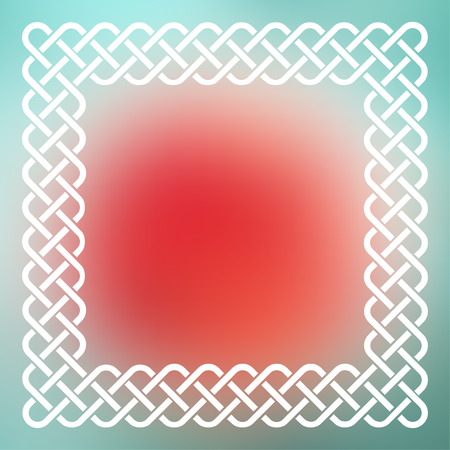 Traditional style braided knot celtic frame over square abstract smooth blur green and red background. Illustration