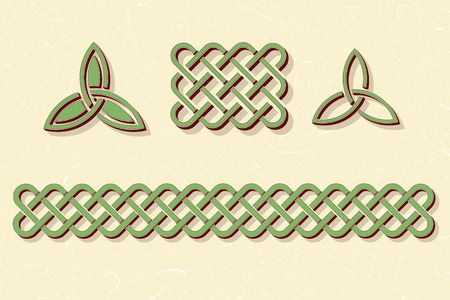 triquetra: Traditional green celtic style braided knot borders and elements over textured vintage background.