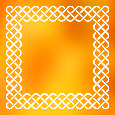 Traditional style braided knot celtic frame over square abstract smooth blur orange background.